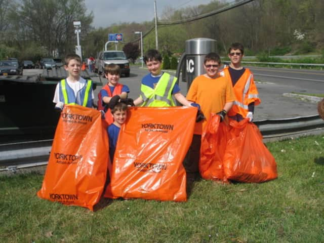Webelos and Boy Scouts from Pack 238 and Troop 238 in Shrub Oak collected bags of litter at Pine Grove Street and Route 202 in Yorktown in 2012.