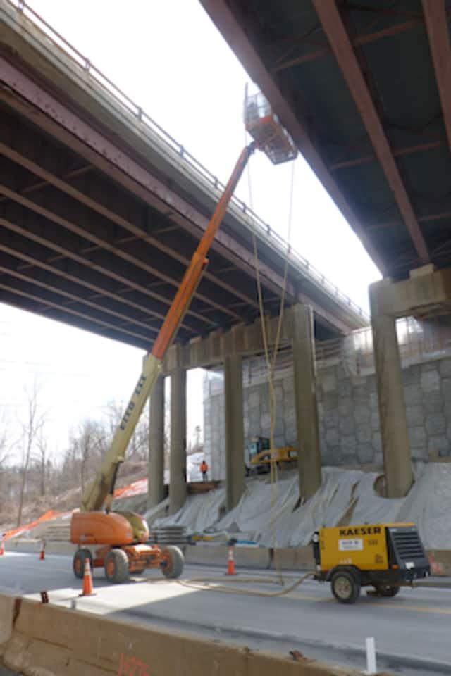 Crews work on the Sprain Brook Parkway bridge over Route 119 in Elmsford in this file photo.