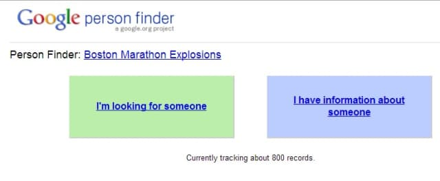 google person finder set up for boston marathon attendees