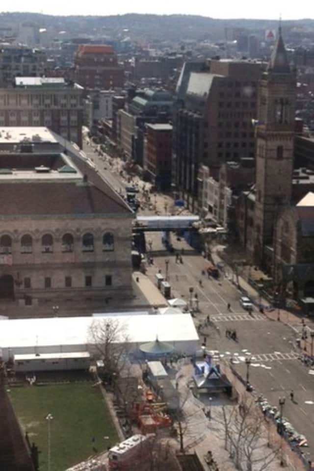 A view of the Boston Marathon finish line from an 17th floor office about a block away.
