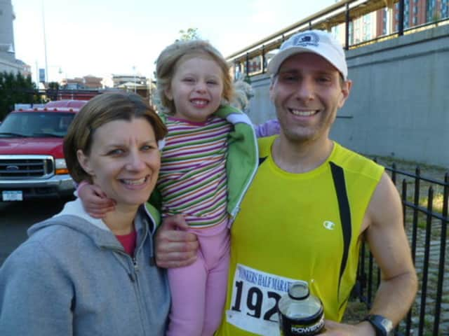 Brian Wilantowicz, seen here with his wife and daugther at ther 2011 Yonkers Marathon, was in the Boston Marathon Monday.
