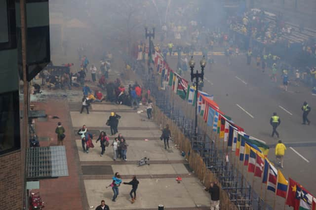 """Rye runner Tim O'Toole described his experiences at the Boston Marathon on Monday as """"two hours of sheer fright."""""""