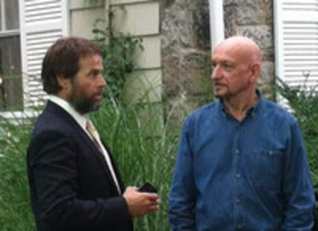 James LeGros and Sir Ben Kingsley film the wedding scene in Chappaqua.