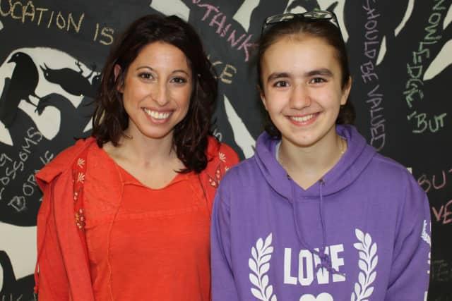 "Dobbs Ferry Middle School seventh grader Sara FitzPatrick, right, and her ""Favorite Teacher"" Rachel Lief."