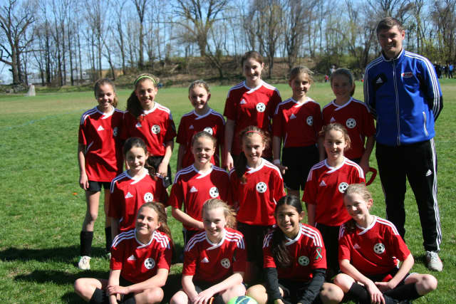 New Canaan Girls Under 12 Red Team started their season 1-0 after a victory over Greenwich's Black team Sunday. Player names in story.