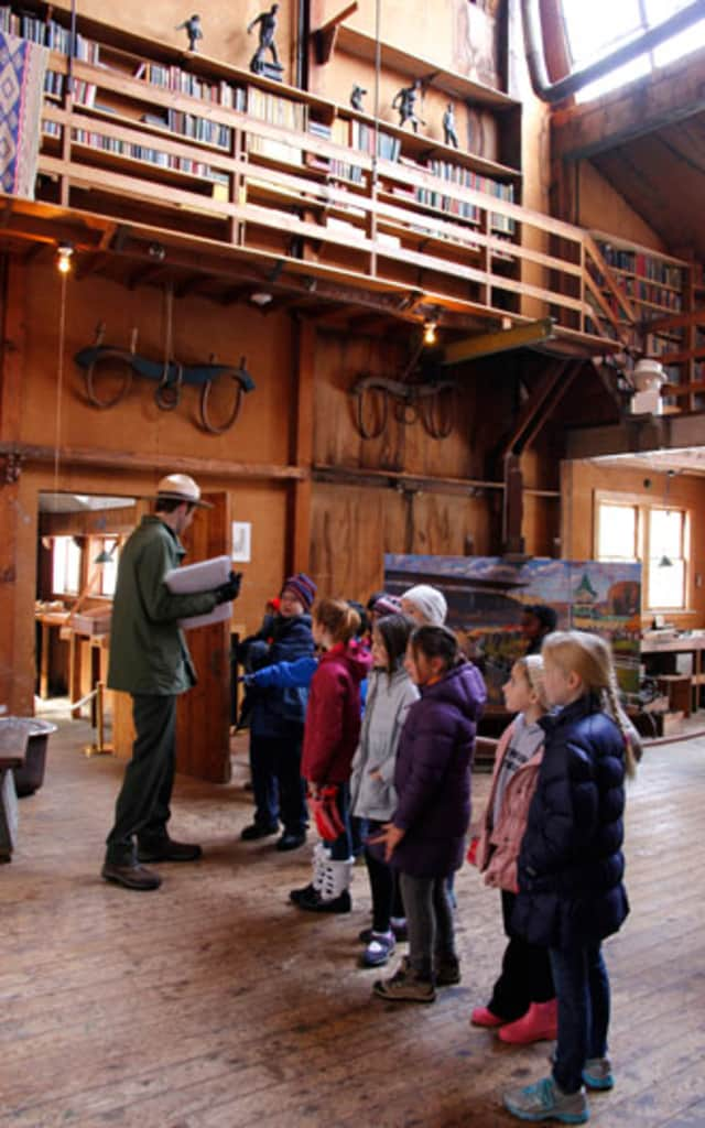 Students get a close up look at the newly restored historic Young Studio at Weir Farm National Historic Park.
