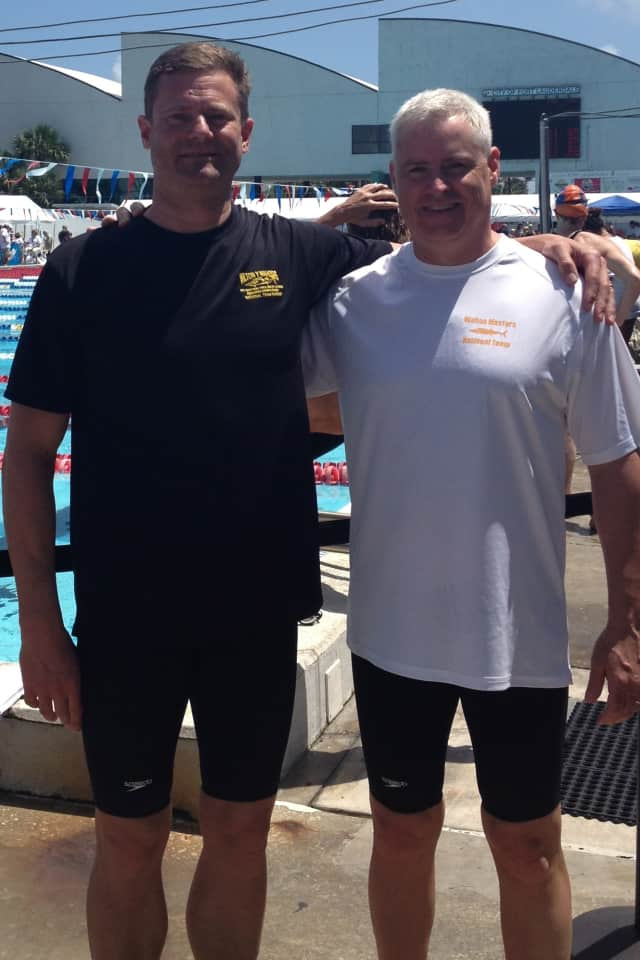 Pete Holmquist, left, and Jim Lewis, both of Wilton, won gold medals for the Wilton Wahoos masters team at the YMCA National Championships in Fort Lauderdale, Fla.