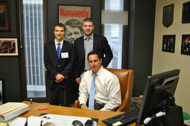 From left to right: Jacob Bayer, William McDermott and Senator Greg Ball.