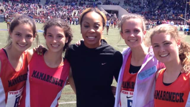 Mamaroneck's record breaking relay team pictured with Olympic Gold Medalist Sanya Richards-Ross at The University of Pennsylvania's Franklin Field in Philadelphia.