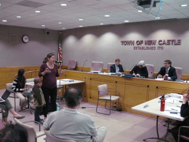 Chappaqua resident Elizabeth Haymson is one of 20 residents to speak against Summit/Greenfield's Chappaqua Crossing development plan during a Monday public hearing.