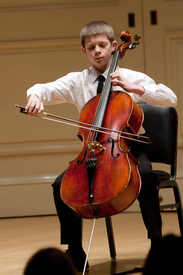 Four young musicians, including 13-year-old cellist Callum Nissen, pictured, will perform at the Greenwich Arts Center on May 5.