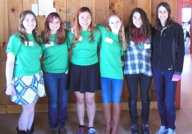 Members of the Hastings High School team from left to right: Ariadne Bazigos, Clara Weinstein, Veronica Erdman, Miranda Mitchell and Alexandra Bazigos.