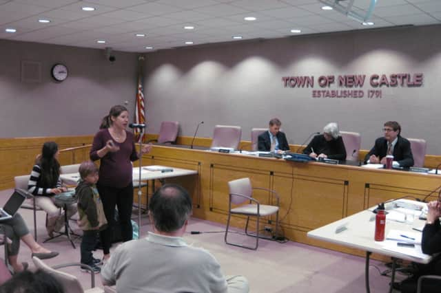 The New Castle Town Board adjourned the public hearing for Chappaqua Crossing Monday afternoon.