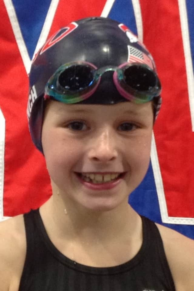 Greenwich's Meghan Lynch, 9, finished with the top times in the nation in her age group in several events this winter. She competes for the Greenwich YWCA Dolphins.