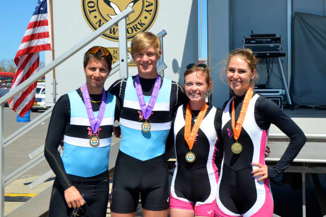 Merritt Cullman, Blake Lange, Bea Tobey and Veronica Hoeft won gold medals in the men's and women's lightweight doubles for New Canaan Crew at the Long Island Sprints.