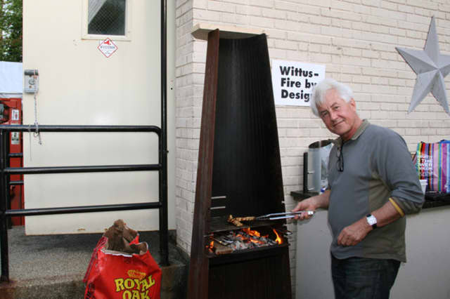 Niels Wittus of Wittus-Fire by Design grills shrimp at A Taste of Pound Ridge.