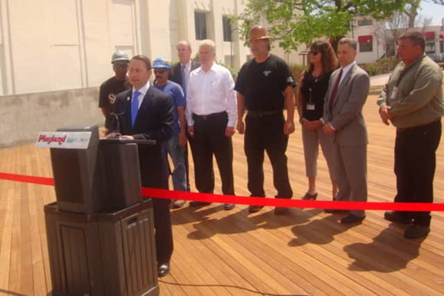Westchester County Executive Rob Astorino celebrated the opening of the newly rebuilt boardwalk at Rye Playland on Friday.