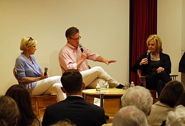 """""""Morning Joe"""" co-hosts Mika Brzezinski and Joe Scarborough along with Emmy winning journalist Diane Smith spoke at the New Canaan Library Saturday night about Brzezinski and Smith's new book """"Obsessed""""."""