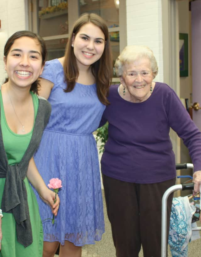 """Gita Abhiraman, Margie Hahn, and Lorraine McGettigan get together during the annual """"Spring Fling"""" held at Waveny Care Center by the  New Canaan Youth Adult Partnership."""
