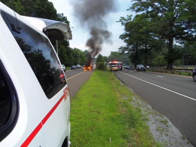 The Nichols Fire Department responded to a car fire on the Merritt Parkway in Trumbull on Thursday afternoon.