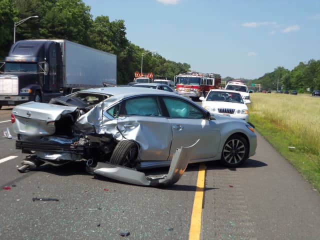 Nichols firefighters responded to a crash on Route 8 in Trumbull Tuesday afternoon.