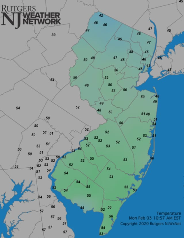 New Jersey's mild winter continued Monday, the Rutgers NJ Weather Network reported.