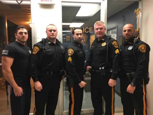Haworth police officers (from left): Officer James DiVite, Andrew Soltes, Detective Sgt. Justin Fox, Sgt. Thomas Smith, Officer Gianluca Argon.