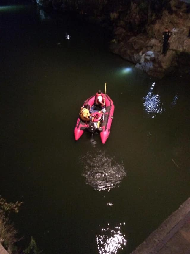 Emergency crews search the Norwalk River after a man who fell in disappeared on Sept. 16. Searchers failed to locate the man, who was found alive — on land — on Sept. 25.