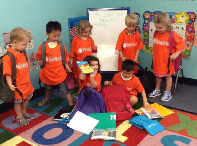 Preschoolers at The Goddard School collected and donated more than 50 backpacks filled with school supplies for The Center for Hope and Safety in Hackensack.