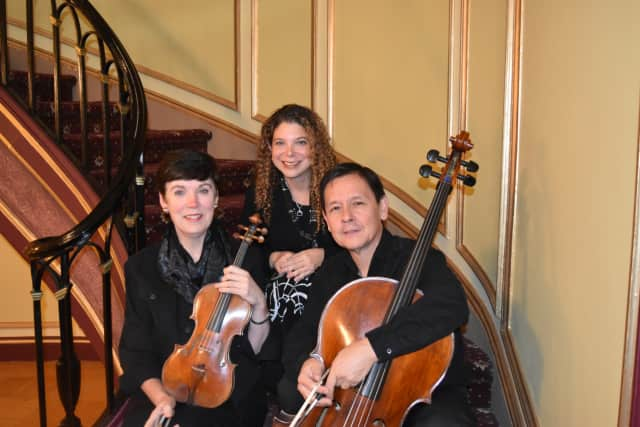 Kathleen Butler-Hopkins (violin), Iris Perry (piano) and Joseph Kimura (cello), left to right, will perform Nov. 1 at the Fort Lee Public Library.
