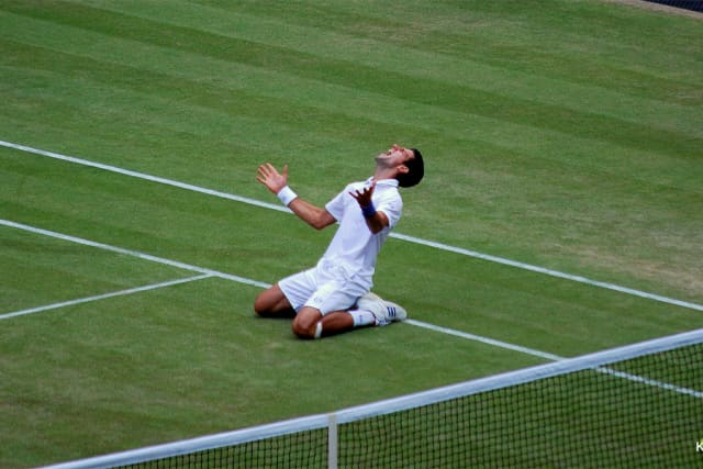Where it all started for him:  Novak Djokovic defeats Jo-Wilfried Tsonga in the semifinals at Wimbledon in 2011 to capture the number one ranking for the first time en route to winning his first Wimbledon championship.