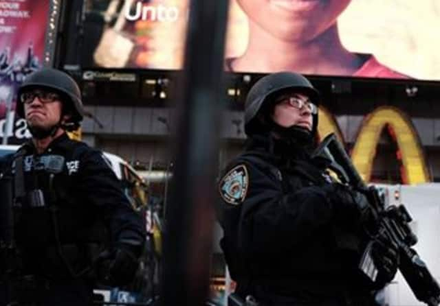 NYPD officers on holiday duty