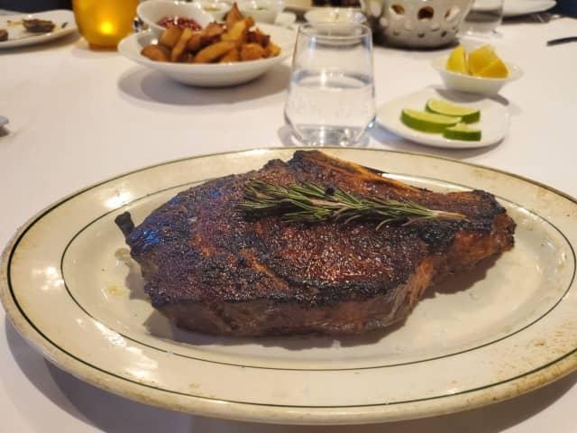 The ribeye steak.