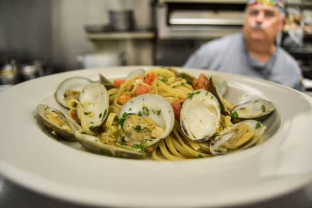 Linguine with White Clam Sauce from Lenox & Park Italian American Bistro (41 S. Park Ave in Rockville Centre).