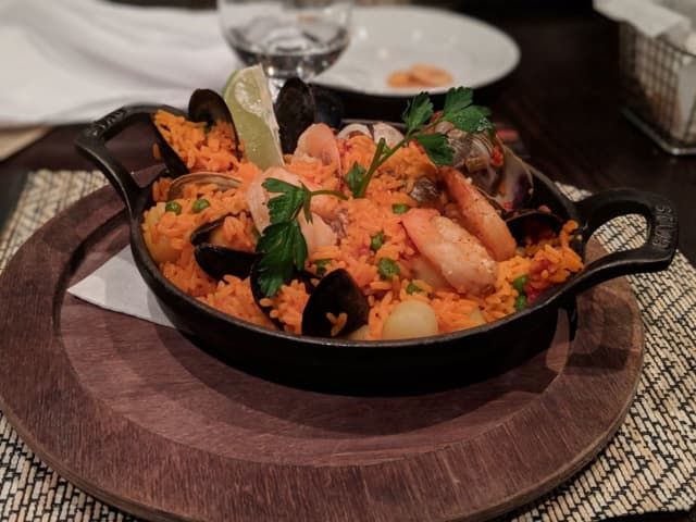 Seafood paella with saffron rice, mussels, shrimp, clams, scallops and calamari from Cafe Havana, located at 944 W. Jericho Turnpike in Smithtown.
