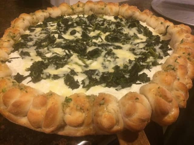 The famous spinach and garlic knot pie.