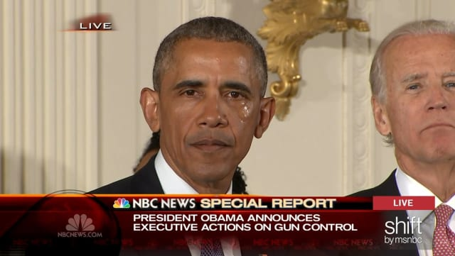 Tears stream down President Barack Obama's face as he issues executive actions on gun control during a press conference Tuesday.