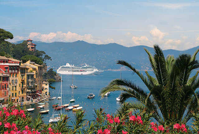 An Oceania Cruises ship sails into Portofino, Italy.