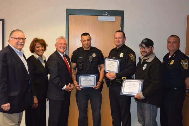 Norwalk Police Officers Paul Wargo, Michael Sellas, Richard Holmes and Nelson Figueroa were named the April 2017 Officers of the Month.