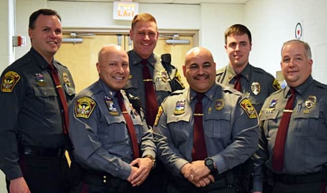 (back, left to right) Officer Dan Gjodesen, Officer Dave Samoskevich and Officer Brian Shimko; (front, left to right) Officer Jorge Romero, Officer Lou Caba and Lt. Shawn Platt