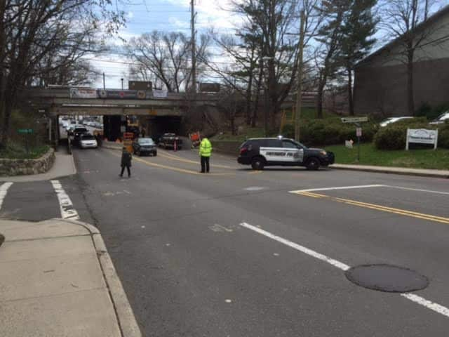 Greenwich police are detouring traffic at the Metro-North bridge on Sound Beach Avenue on Monday.