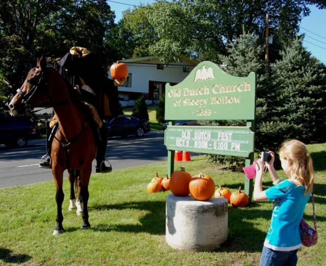 The Headless Horseman visits the Old Dutch Church Fest, which runs every weekend through October.