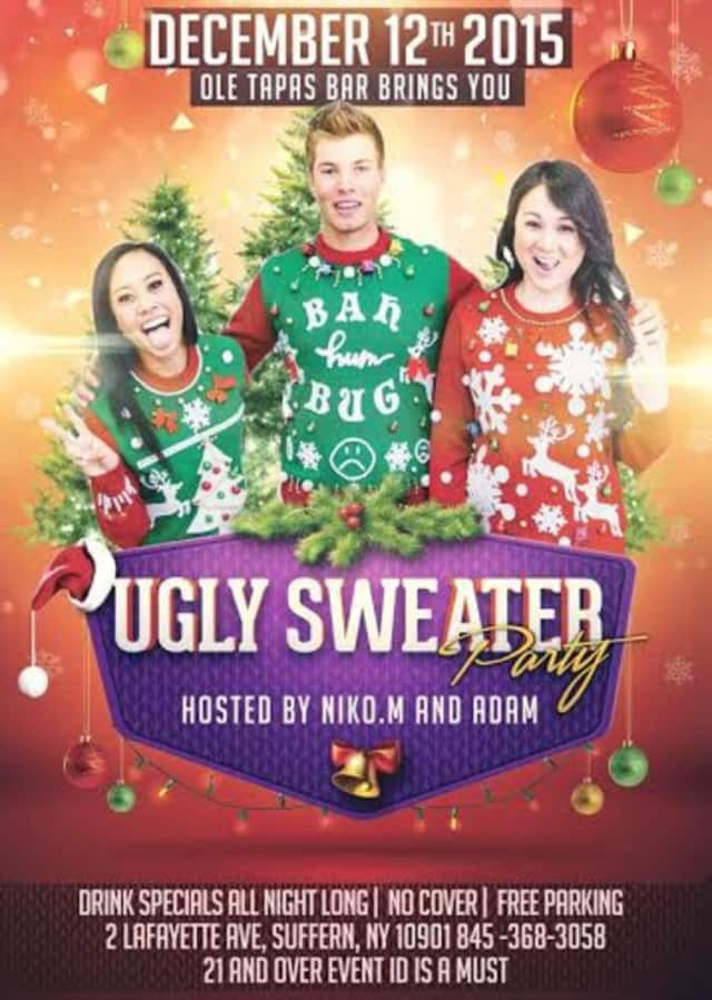 Ole Tapas Bar in Suffern is celebrating ugly holiday sweaters with drinks and dancing on Saturday, Dec. 12.