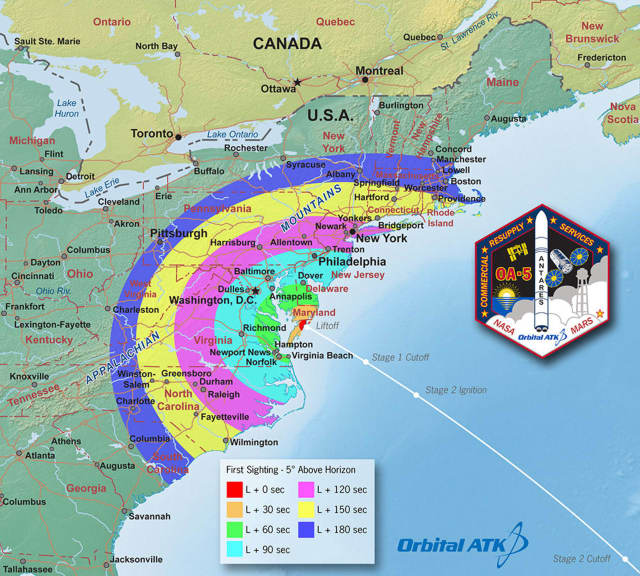 This map shows the regions of visibility for the nighttime launch scheduled for 8:03 p.m. on Sunday, Oct. 16. The launch may be visible from a wide region of the U.S. East Coast.