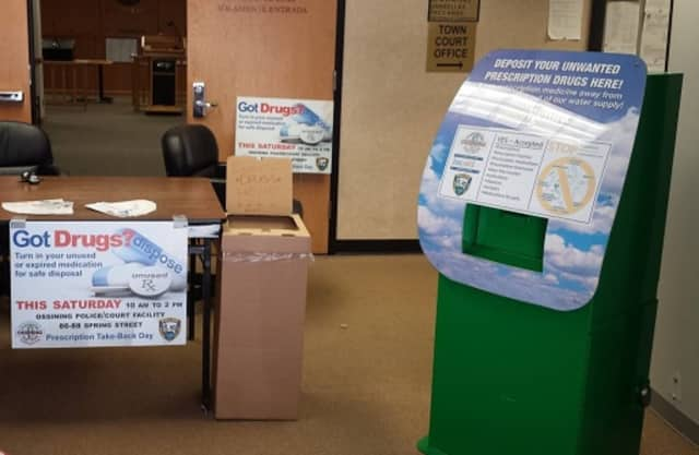 The Ossining Police Department, which took part in the National Prescription Drug Take Back Day this past weekend, maintains a box in the lobby of the police and court facility where expired medications can be safely left.