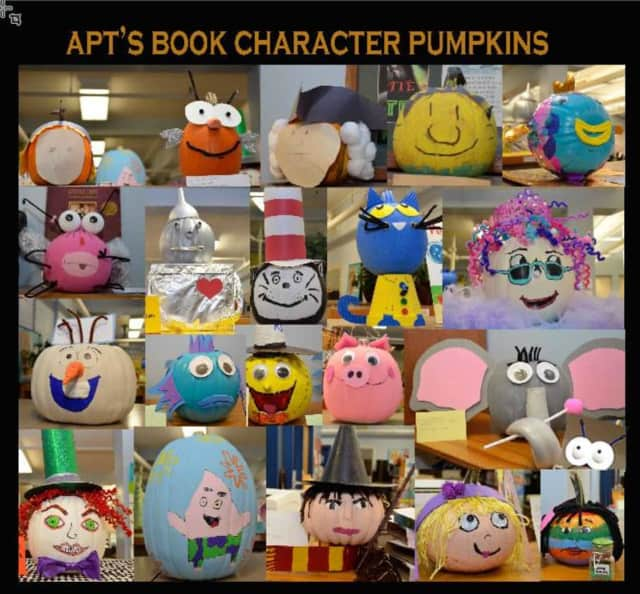 This pumpkin display in October promoted a book fair based on storybook characters at Albert Payson Terhune Elementary School in Wayne.