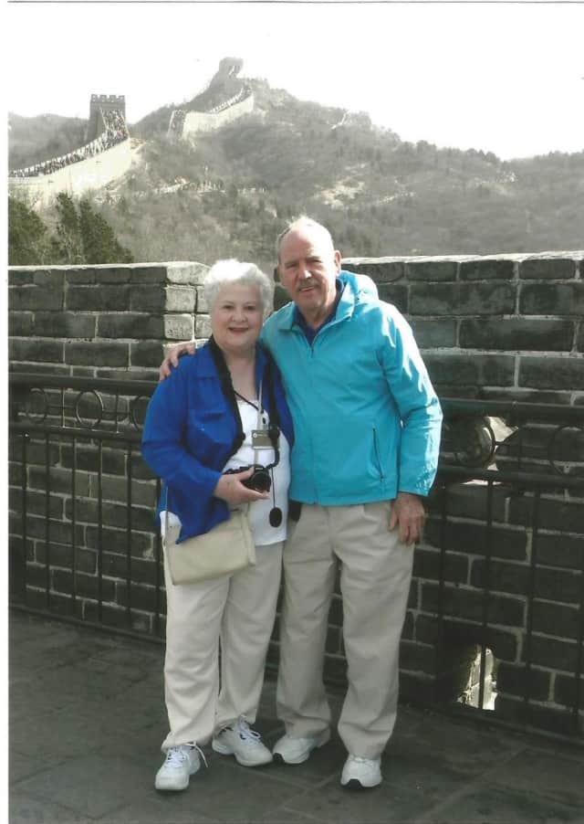 Ann O'Brien with husband, Bill, at the Great Wall of China in April, 2015.