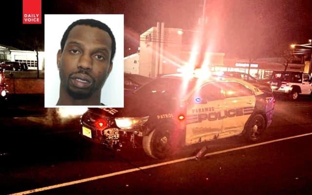 INSET: Mark Simpson / Damaged Paramus police car