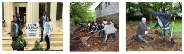 """These teens of Mount Vernon Youth Bureau cleaned up a local historic site on """"I Love My Parks"""" day May 7."""