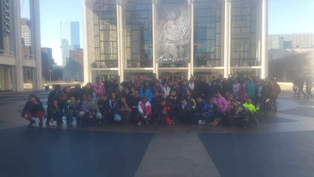 Peekskill students assemble outside Lincoln Center during a two-day field trip.